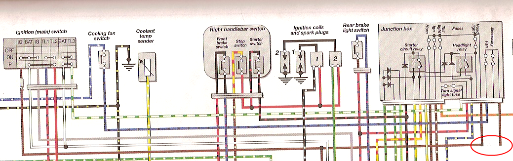 error in the wiring diagram ex 500 com the home of the kawasakii\u0027ve removed the junction between the section of brown wire feeding the lights horn ignition and the section going to the fan and accessory fuses